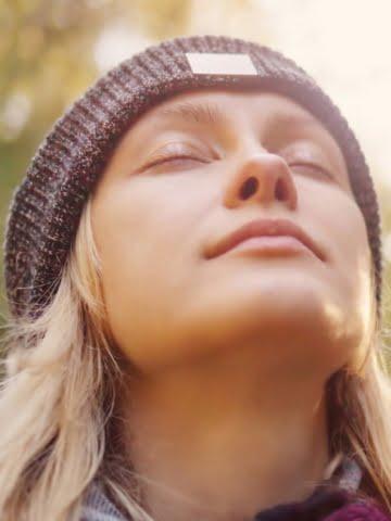 woman facing the sky