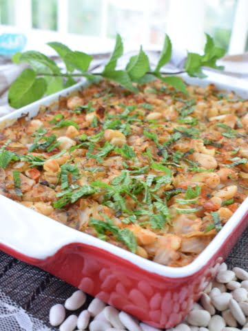 ¾ view of baked cabbage and bean casserole