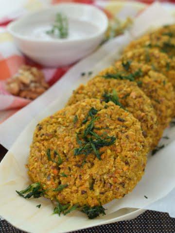 ¾ view of baked arabic veggies bean patties