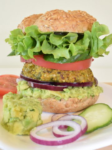 front view of chickpea avocado burger