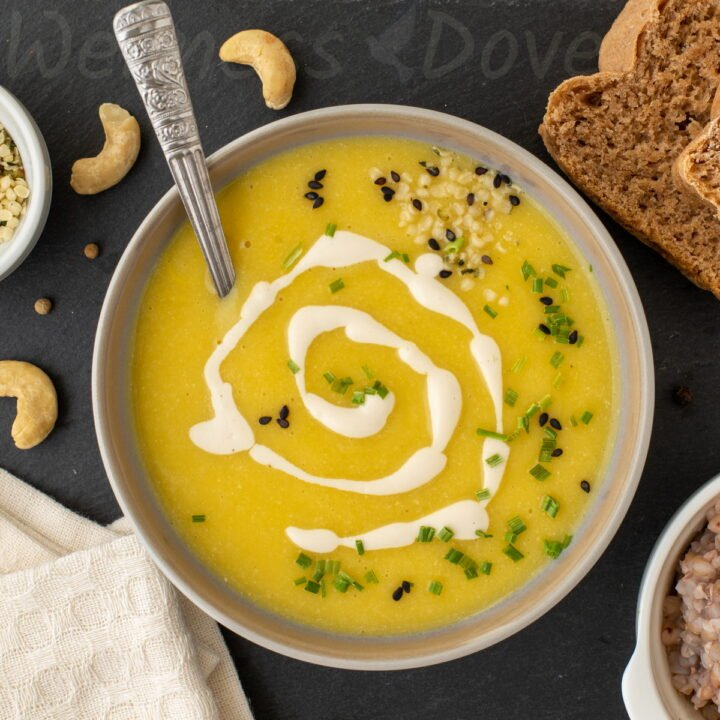 overhead view of a bowl of creamy Zucchini soup