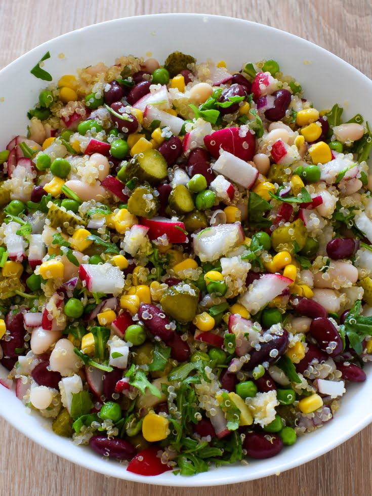 overhead photo of a large bowl of bean salad