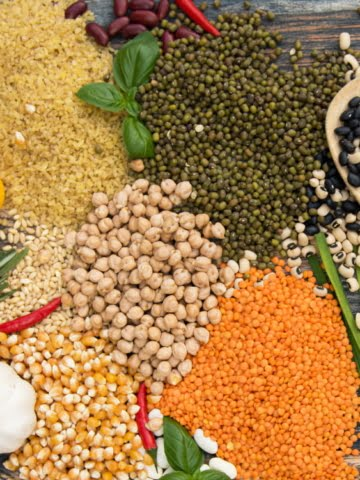 variety of grains and legumes