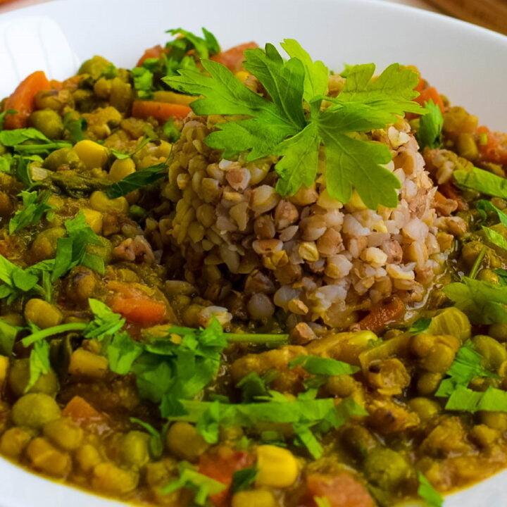 ¾ view of vegan mung bean stew