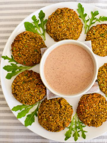 overhead shot of plant protein rich burger patties