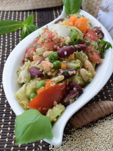 ¾ view a plate of quinoa bean salad