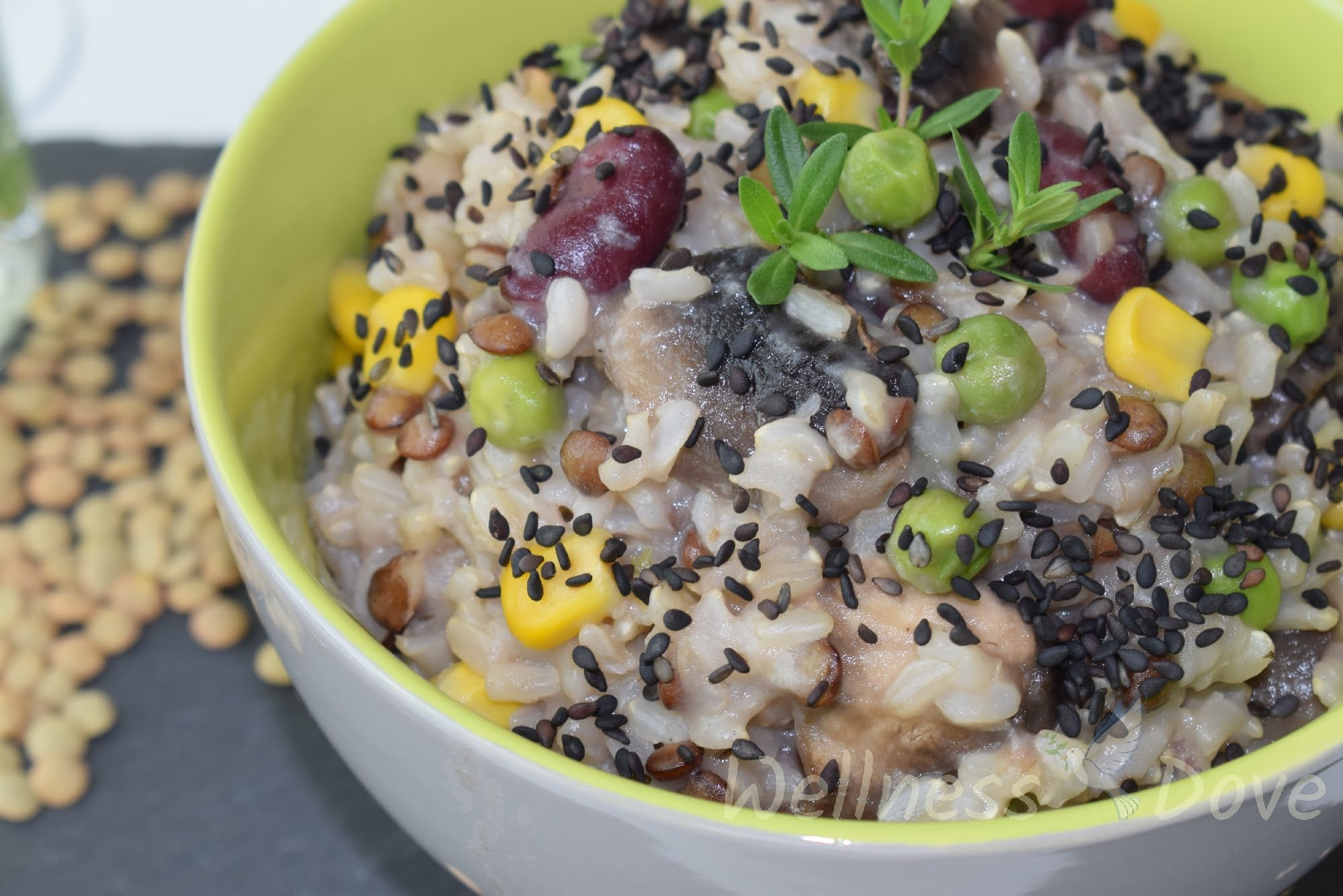 Brown Rice Mushroom Risotto with Beans & Corn   Whole Food, Plant-Based