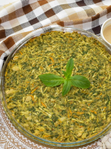 overhead view of zucchini and spinach bean casserole