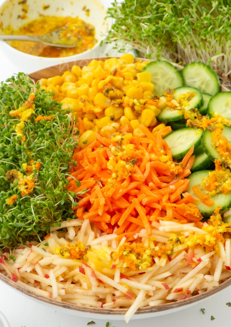 alfalfa sprout salad with dressing
