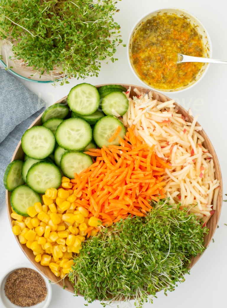 Sprout salad, vertical, overhead view