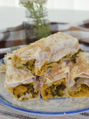 ¾ shot of vegan spinach and chickpea pie