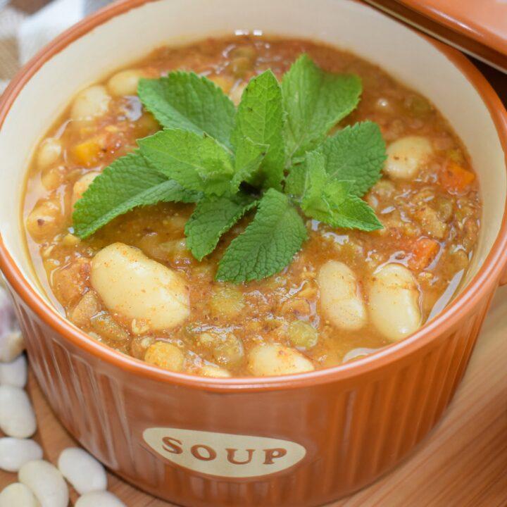 Easy Vegan Oil-free Bean & Lentil Soup