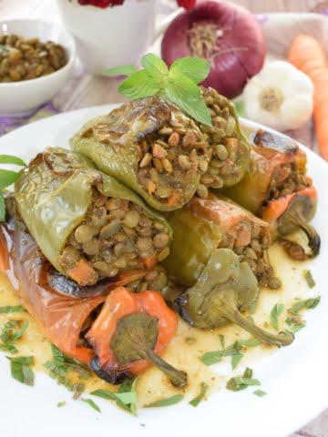 ¾ shot of lentils stuffed peppers