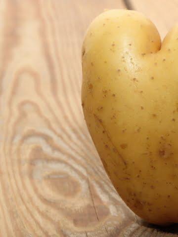 front shot of heart shaped potato