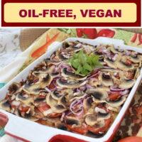 Zucchini Pizza Casserole Vegan, Oil-free