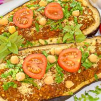 Stuffed Eggplant with Chickpea & Tomato Sauce | Vegan