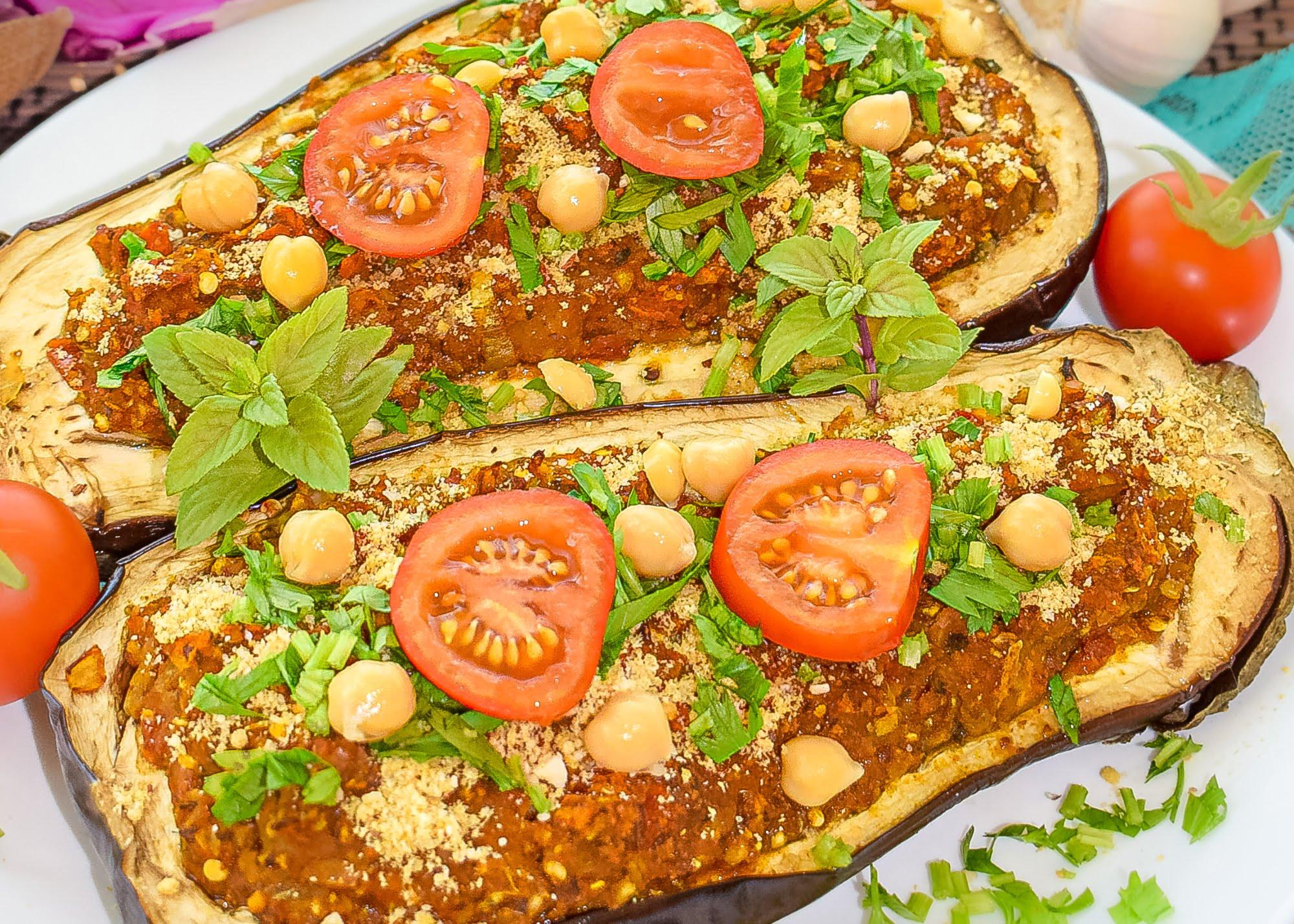 Stuffed Eggplant with Chickpea & Tomato Sauce | Vegan