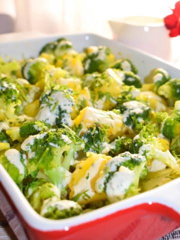 Broccoli and Potatoes Casserole dish ¾ view