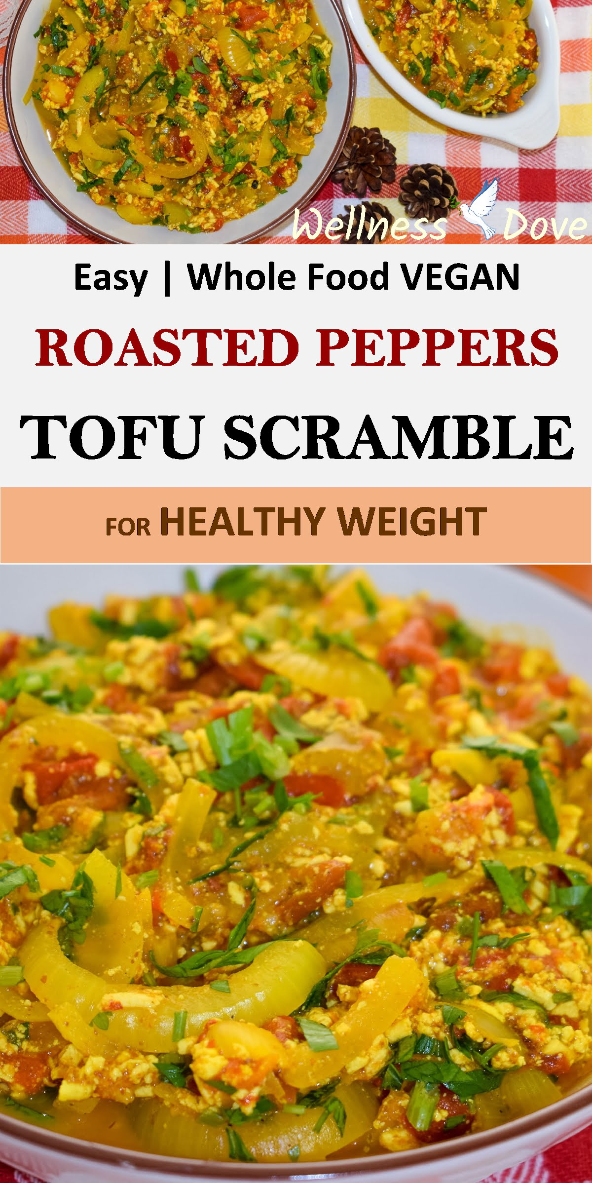 Quick and easy Tofu Scramble recipe!With only whole plant food ingredients.IThis is a fresh and tasty meal, super juicy thanks to the fresh tomatoes and roasted peppers.The tofu gives a hearty and satiating feel while the turmeric adds a distinct and appetizing flavor.