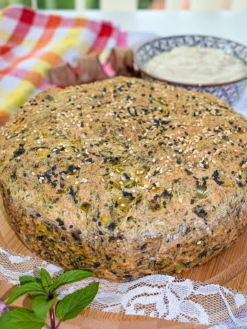 Spinach and Onion Bread ¾ view
