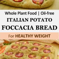 A delicious home-made Italian-Style Potato Foccacia Bread recipe! Topped with cherry tomatoes and fresh rosemary, it is just so juicy and tasty. With only whole plant food ingredients and oil-free for great health!
