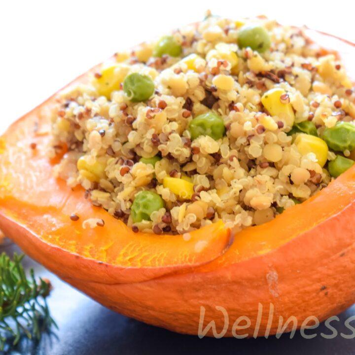 Red Lentils & Quinoa Stuffed Squash
