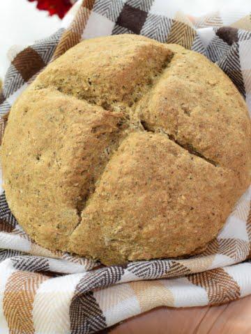 ¾ shot of vegan no yeast bread loaf