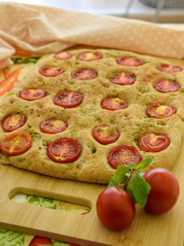 shot of Vegan Potato Foccacia Bread