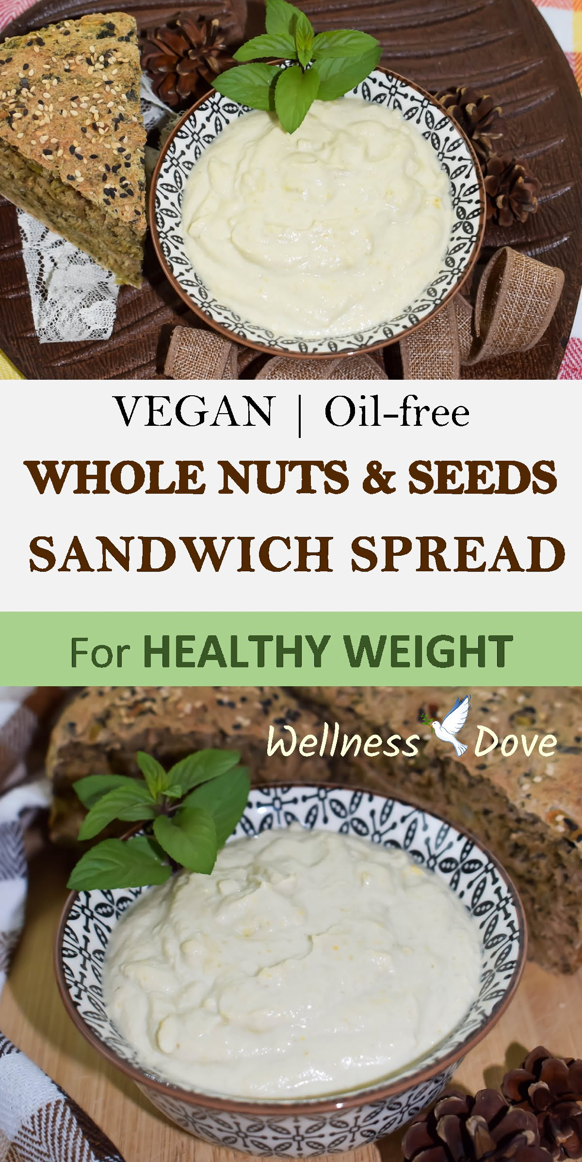 Delicious and creamy sandwich spead! Super healthy and nutritious. This is a whole food plant-based recipe without any added oils. Easy and quick to prepare, ready in just a few minutes. We find it really helpful, especially when we are in a hurry. Cashews and sunflower seeds are packed with healthy whole food fatty acids. All you need to enjoy this spread is just a small amount on a loaf of bread with several slices of fresh tomato. A healthy and filling snack our a quick and satiating lunch. You choose!
