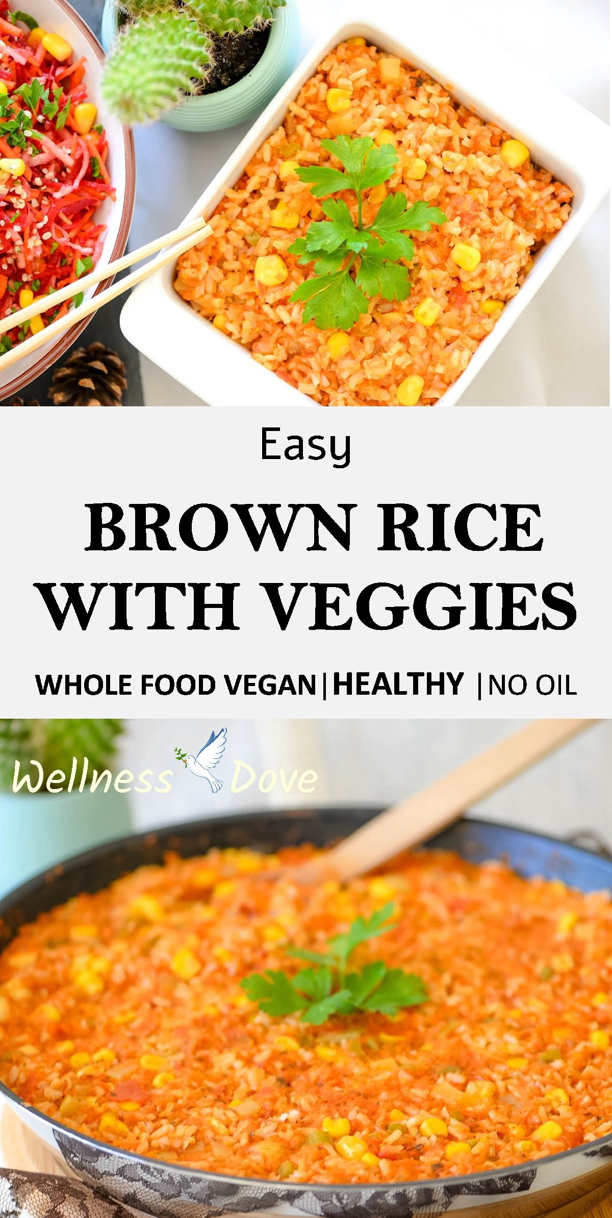 Super tasty and easy Brown Rice With Veggies recipe! This is a plant-based recipe, prepared without any oil! Combined with so many veggies, this brown rice feels fresh and really rich inflavor.