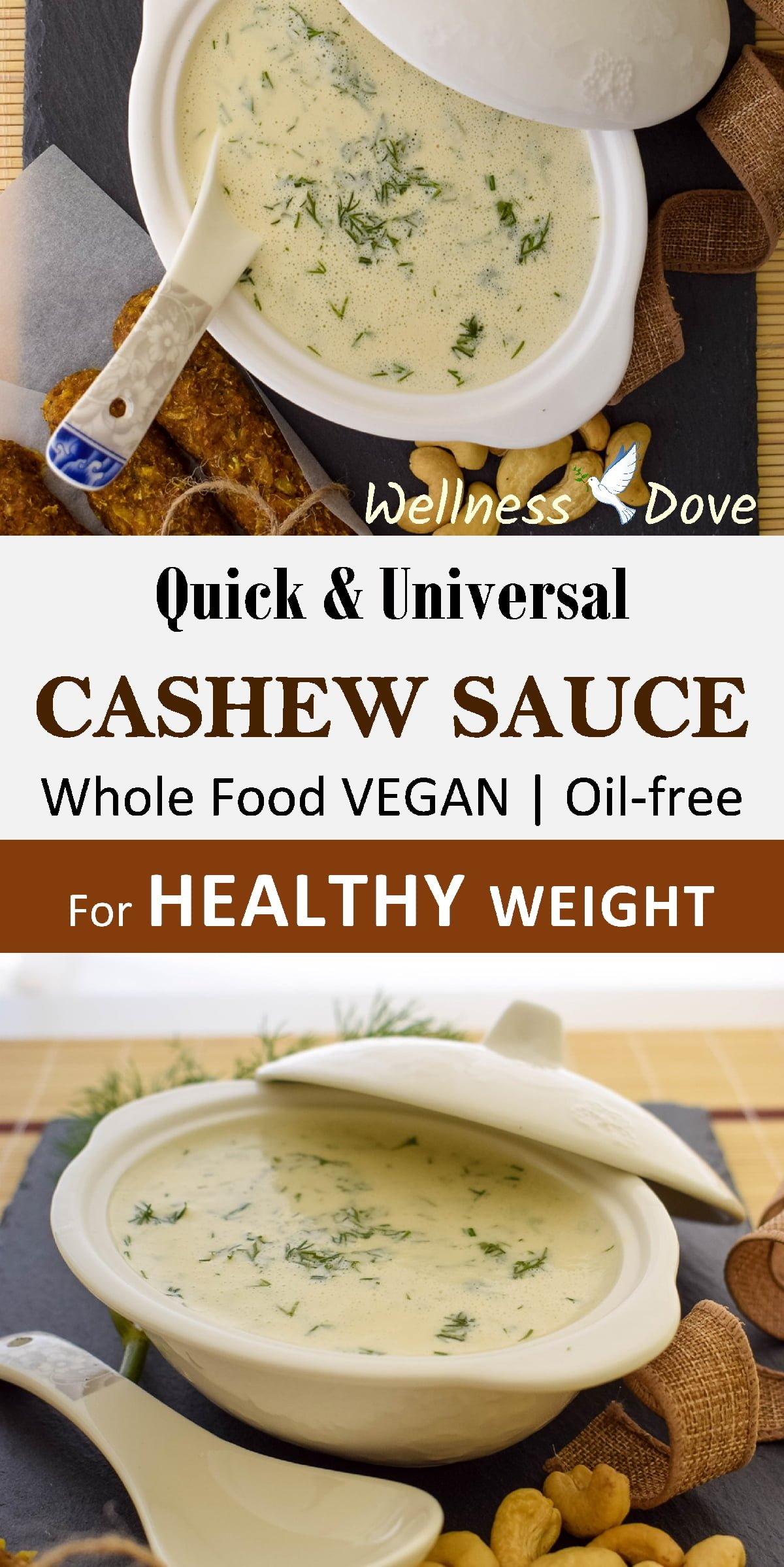 Really quick and easy nut sauce recipe!Super creamy texture!And perfectly healthy with whole natural plant foods only, no oils or sugar!