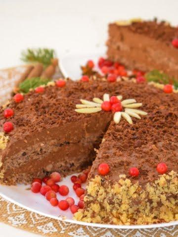 Vegan Chocolate Walnut Cake front view