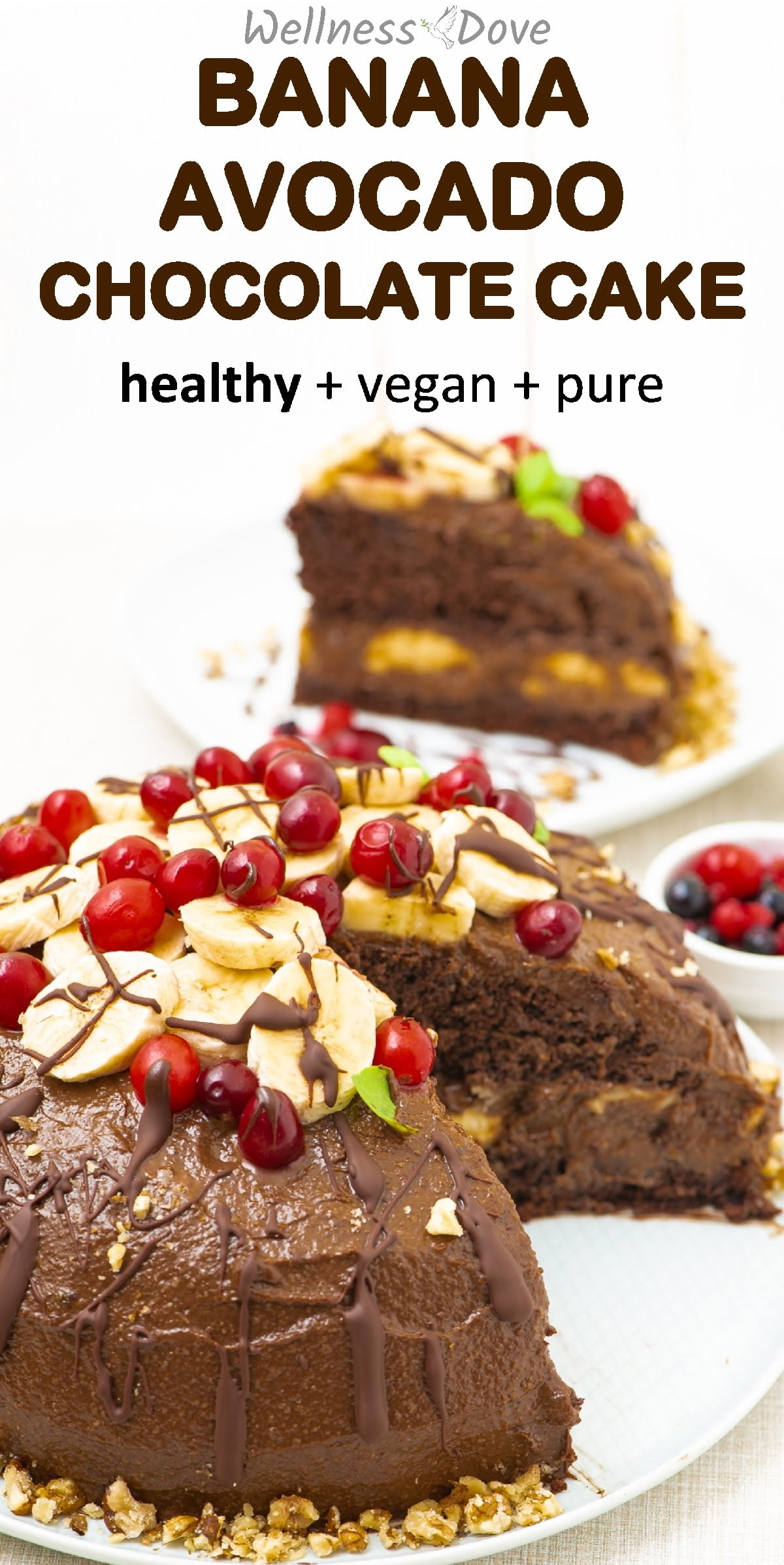 A plant-based recipe that is super healthy and delicious!Chocolate vegan cake, filled with fresh bananas, covered with a fantastic raw banana avocado frosting for a more chocolatey flavor.Completely vegan and mostly whole food, this is one healthy dessert that you can enjoy guilt-free. Super high in micronutrients and no empty calories!