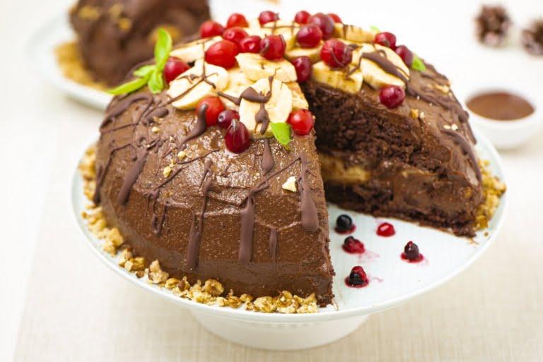 Cut vegan chocolate cake, 3/4 angle, elevated