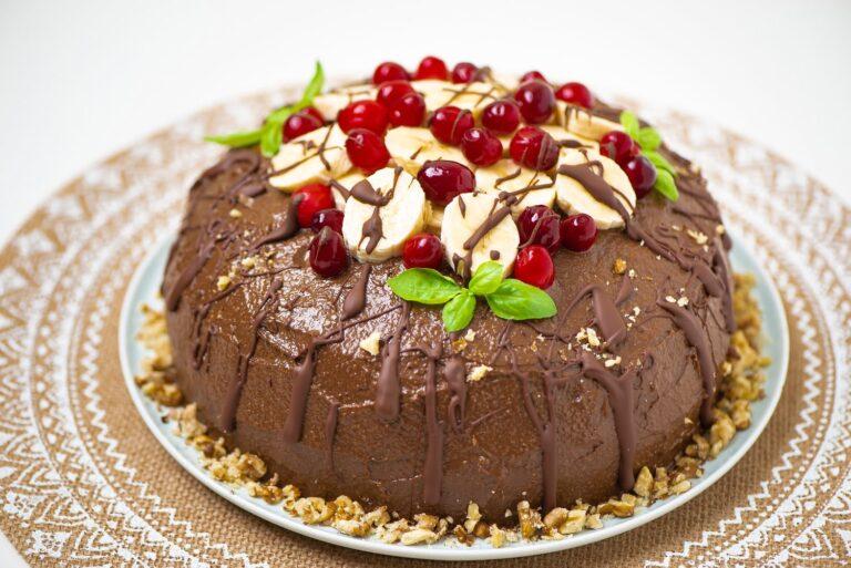 The whole chocolate vegan cake at 3/4 angle