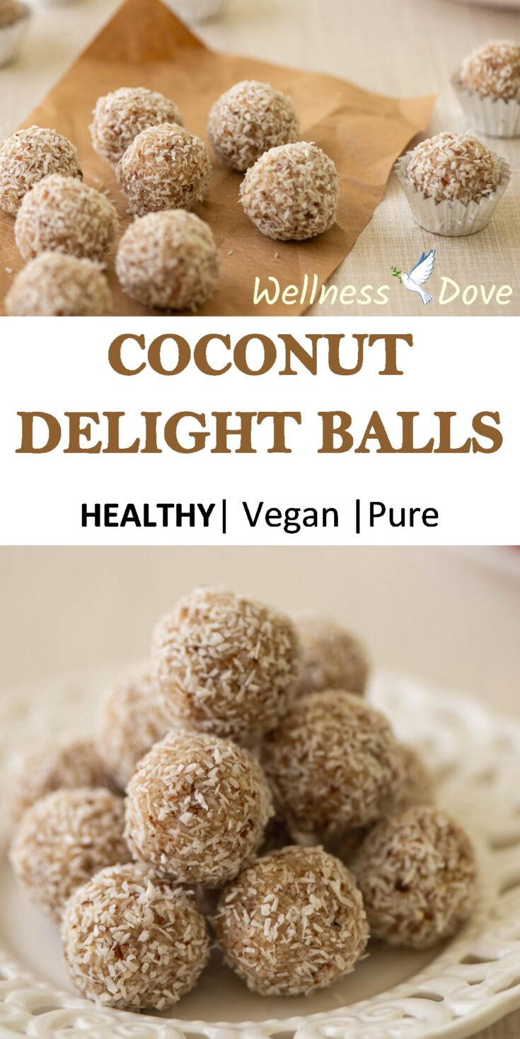 Raw almonds mixed with coconut shreds, vanilla, and fresh lemon juice. All that rolled in extra coconut shreds for a moment of pure joy! Super healthy vegan!