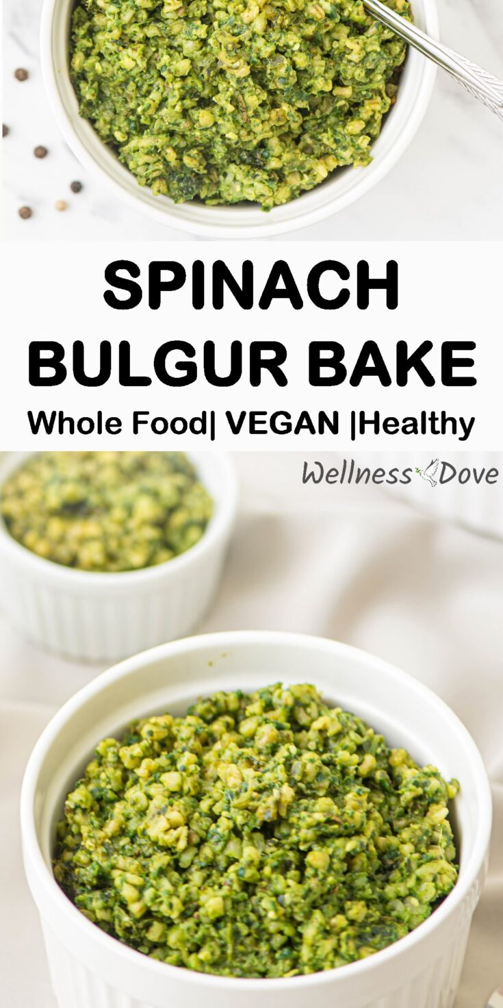 Super tasty and easy Bulgur and Spinach recipe!  Highly nutritious bulgur mixed with spinach, onion, garlic, seasoned with various spices!  Superbly healthy, with only whole plant ingredients!