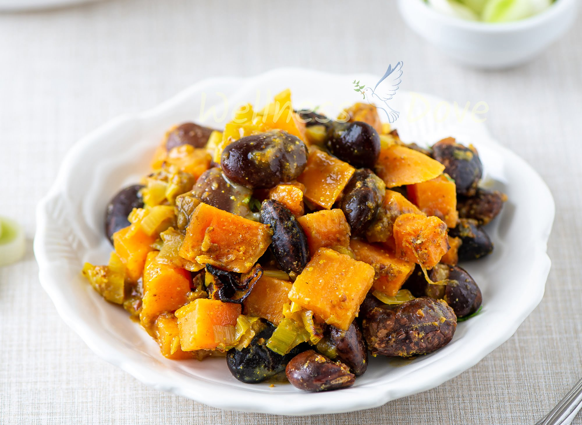 Curried Sweet Potato Beans   Vegan