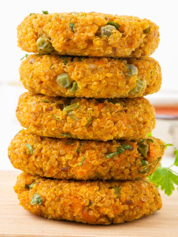 front view sweet potato quinoa burger patties