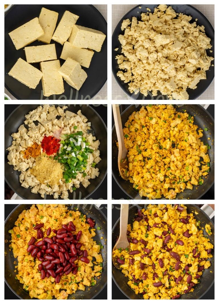 step by step making of the tofu scramble
