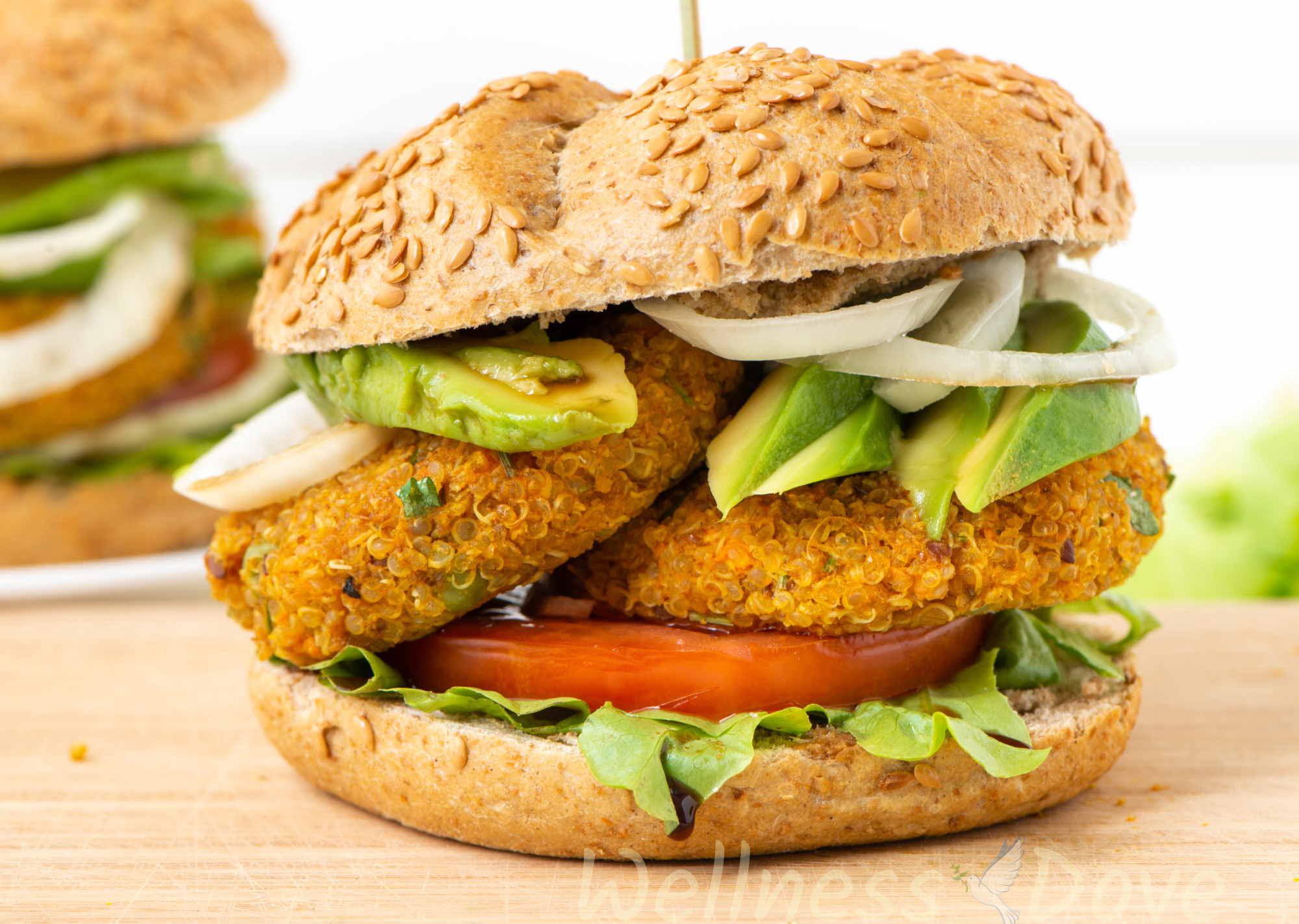 the vegan burger on a chopping board