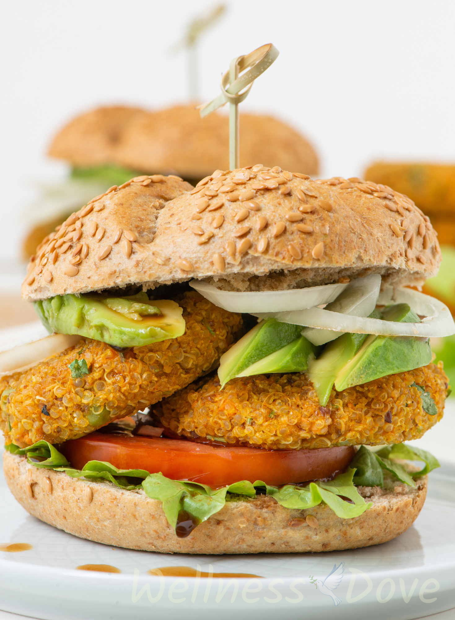The vegan burger  on a plate, macro