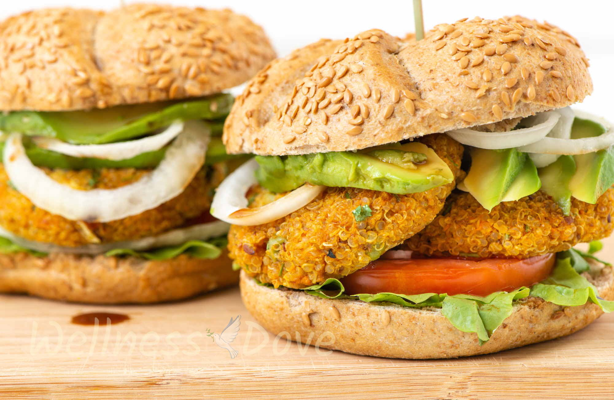 Two vegan burgers, front view