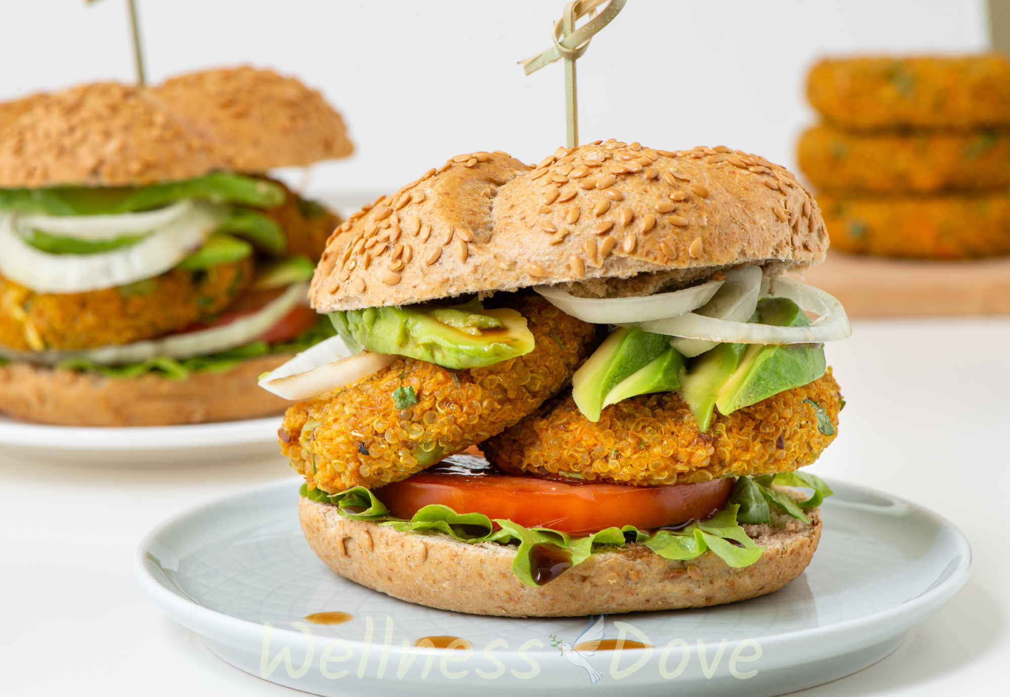 the vegan burger on a plate
