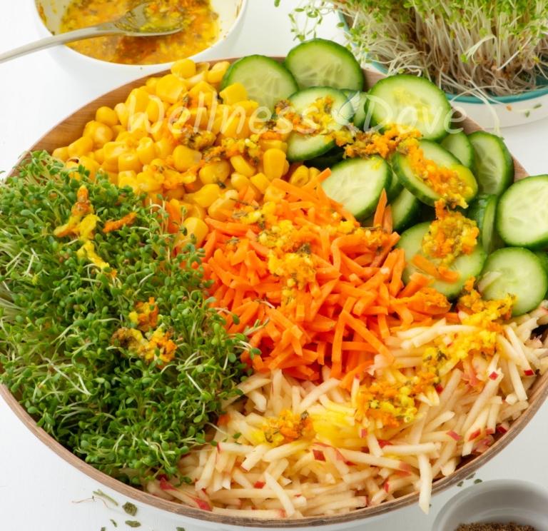 The alfalfa sprout salad, 3/4 angle