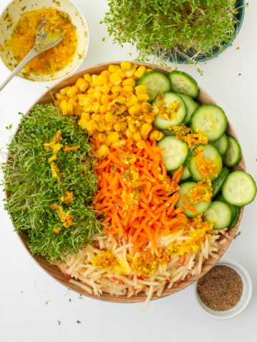 alfalfa sprout salad from overhead