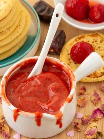 Vegan Strawberry Jam in a bowl ¾ view
