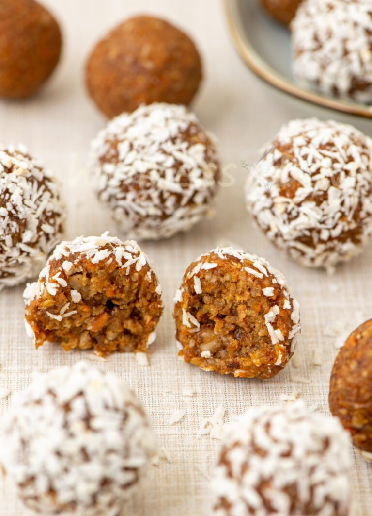 the carrot cake balls on a table
