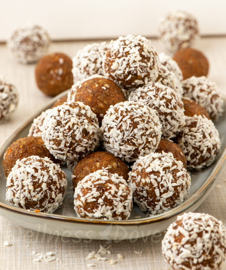 Carrot Cake Balls on a long plant, front view
