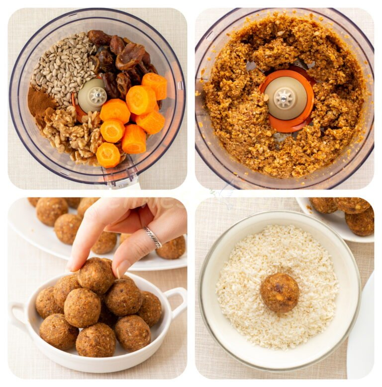 step by step making of the carrot cake balls